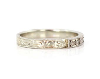 Simple wedding ring etsy 18k white gold band with decorative engravings vintage wedding band simple wedding ring junglespirit Image collections