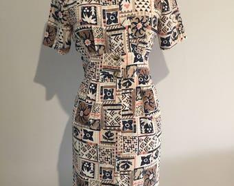 1980's D.I.O. PETITE GEOMETRIC Pattern Dress