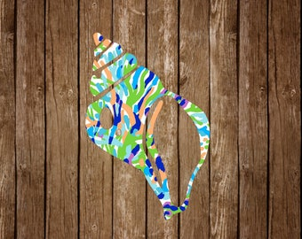 Conch Shell Vinyl Decal - Nautical Beach Sea Shell Lilly Pulitzer Inspired Florida Key West