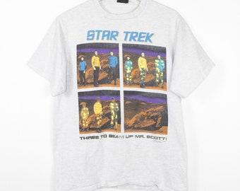 vintage star trek original series t shirt - three to beam up mr scott! kirk - spock - 1991