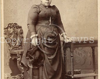 Well Dressed Heavy Set  Victorian Black Woman Cabinet Card Photo