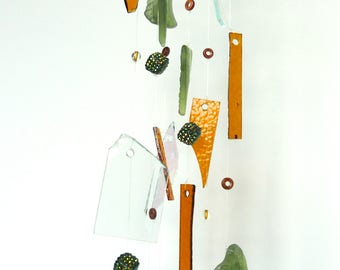Stained glass wind chime - tumbled glass mobile - tumbled stained glass chime