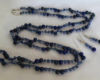 Lapis Lazuli and Sodalite Gemstone Boho Long Necklace, Hand Crochet on Pure Silk Thread,  Matching Earrings & Sterling Silver