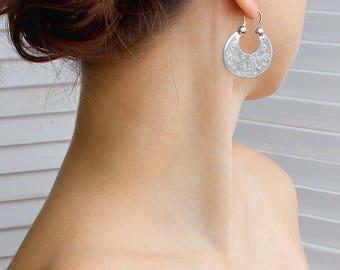Traditional Silver-Woman earrings-Ukrainian Folk-Half Moon Earrings-Ethnic Jewelry