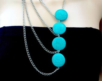 Turquoise Howlite Pendants Necklace