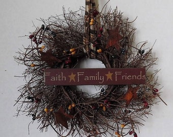 "Primitive Wreath, Angel Vine, Faith Family Friends, 8"" Round Wreath, Primitive Sign, Stars, Pip Berries, Homespun, Handmade, Made in USA"