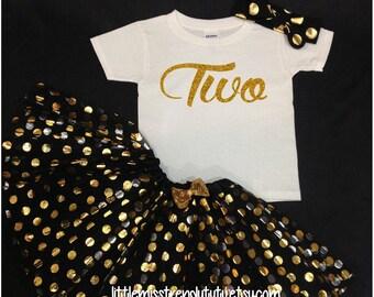 Black Gold Tutu Set,  Birthday Set, Second Birthday, Black Birthday Tutu, I'm Two Much  Birthday Tutu Set,  Second Birthday Tutu Outfit
