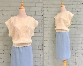 1980s cream sweater vest / 80s short sleeve knit / 1980s pullover sweater / size medium