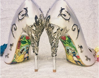 Beauty and the Beast Soles - Stained Glass Happy Ending for your own Shoes Heels - This Listing DOES NOT INCLUDE the shoes.