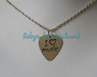 Small Silver I Heart Music Double Sided Guitar Plectrum Pick Charm Necklace on Silver Crossed Chain or Black Faux Suede Cord. Musician, Band