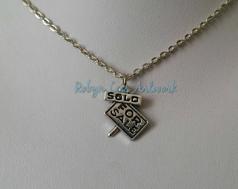 Small Silver For Sale Sold Sign Charm Necklace on Silver Crossed Chain or Black Faux Suede Cord