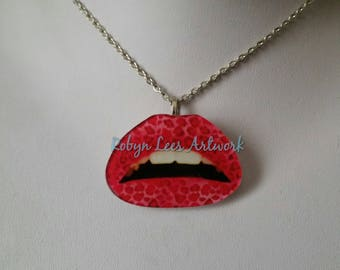 Pink Leopard Print Lips Acrylic Pendant Necklace on Silver or Bronze Chain or Black Faux Suede Cord. Lipstick, Kiss, Mouth, Costume