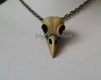 Large Antiqued Indigo Grey Resin Raven Crow Bird Skull Necklace on Silver or Bronze Chain or Black Faux Suede Cord. Gothic, Wiccan, Pagan
