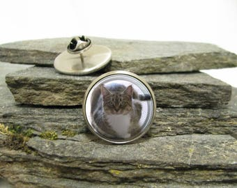 Cat Photo Pin, Pet Photo Pin, personalized lapel pin, Personalized Photo Pin made with your photo