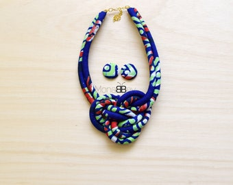 African fabric Necklace & Earrings, Textile Earrings, Afro Jewellery, Ankara Fabric, Git for Her, Gift for women