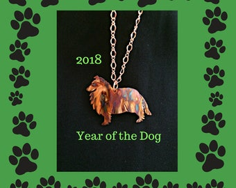 sheltie necklace, sheltie jewelry, shetland sheepdog, collie necklace, collie jewelry, dog jewelry, flame painted copper, year of the dog