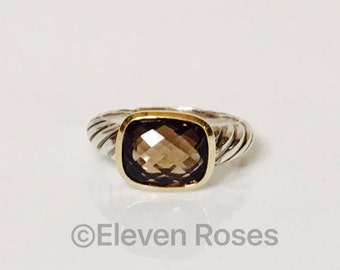 David Yurman Smoky Quartz Classic Cable Ring 925 Sterling Silver & 750 18k Yellow Gold