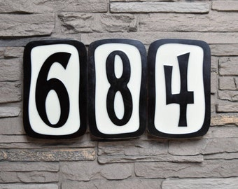 Modern House Numbers - Pixie Font in Patina Finish