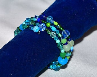 Turquoise Blue, and Green Bead Memory Wire Bracelet