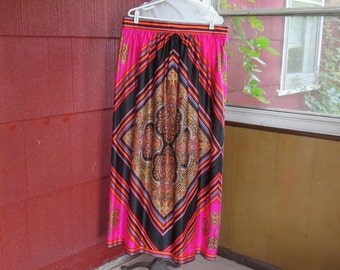"Vintage 1960 1970s paisley maxi skirt pink black red orange gold stripe diamonds 36"" waist 45"" hips (101715)"