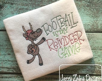 Football is my reindeer game sketch embroidery design - Football embroidery design - reindeer embroidery design - Christmas embroidery