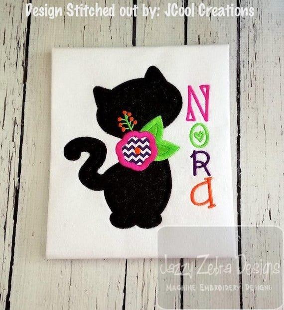 Black cat silhouette with flower appliqué embroidery design - cat appliqué design - halloween appliqué design - flower appliqué design