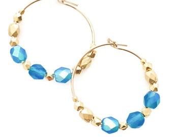 Blue Gold Earrings Bright Blue Gift Girlfriend Earrings Hoop Earrings Blue Wife Jewelry Gift Earrings Wife Beaded Earrings Gold Hoops Blue