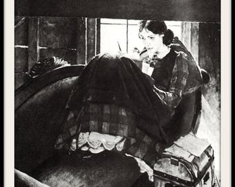 Norman Rockwell Art Print, Louisa May Alcott, Writer in Attic Room, Classic 1938 Art, Black and White Vintage Lithograph
