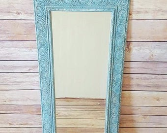 Ornate Framed Wall Mirror | Turquoise Ornate Framed Mirror | French Country Mirror | Vintage Wall Mirror | French Country Home Decor