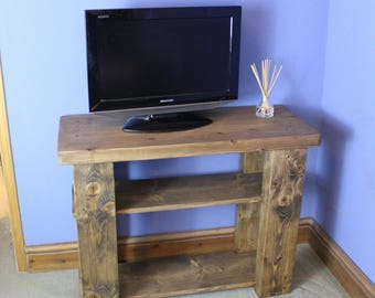 television stand, sideboard, wood natural & eco friendly, 2 shelves, custom size options, handmade rustic industrial style from Somerset