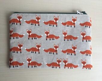 Fox Print Make Up Bag, Pencil Case, Zipper Bag, Cosmetics Bag, Make Up Organiser, Christmas Present, Toiletries Bag