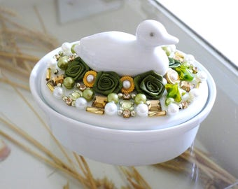 jewelry box, jewelry storage, porcelain bowl, jewelry organizer, white bath accessories, duck, gift box, mosaic art,table decor,gift for her