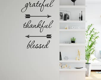 Grateful Thankful Blessed Wall Decal
