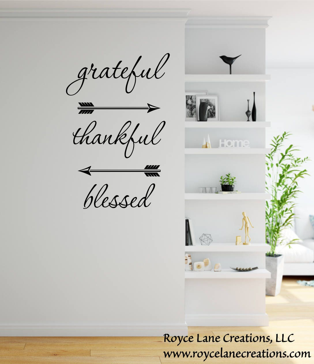 Grateful Thankful Blessed Wall Decal  Dining Room Decor  Dining Room Wall  Decor  Family