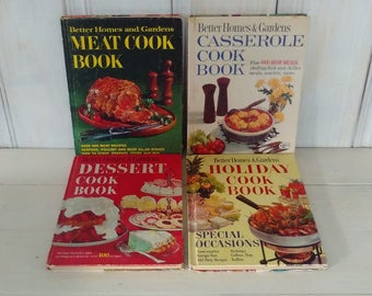 Set of 4 Better Homes and Gardens Cook-Books, Vintage Collection, Desserts, Holiday, Meat, Casserole, 1960s, Color, lindafrenchgallery