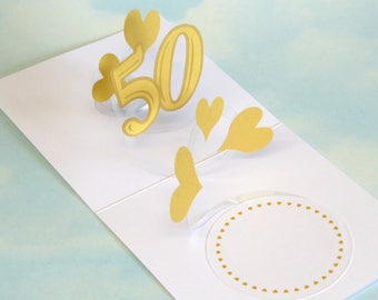 Golden 50th Wedding Anniversary Card Spiral Pop Up 3D, Handmade 50th Wedding Card, Golden Wedding Anniversary Card, Gold Hearts - PopUp Card