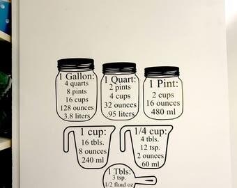 kitchen decal / measurements / cheat sheet / measuring / decal / cooking / baking / cook / bake / baker