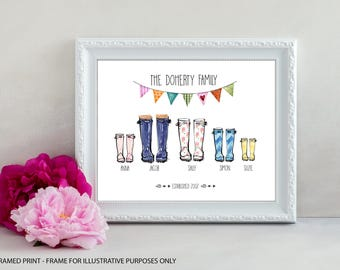 Personalised Welly Boot Print, Family Welly Boot Print, Wellington Boot Print, UNFRAMED PRINT