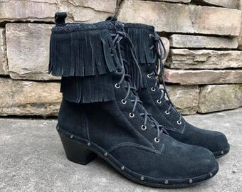 Women's Fringe Studded Ankle Boots Black Suede Lace Up Booties by SoftWalk Women's Size 9 1/2 Narrow
