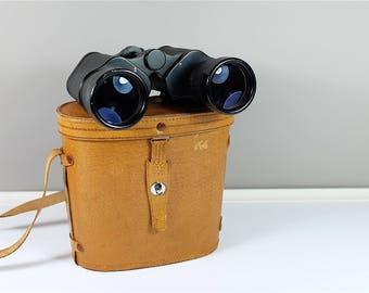 Vintage Binoculars by Fisher-Dietz 7x50 ZIF de 372 pieds to 1000 yards #31989  - made in Japan - with original leather case
