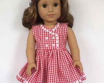 """18"""" doll red and white gingham dress with white daisy trim"""