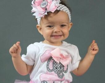Elephant Birthday Outfit - Girls First Birthday Outfit - Elephant First Birthday Set - Pink And Grey Gray Elephant Birthday - Elephant Shirt