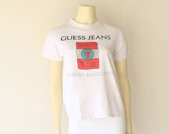 90's Vintage GUESS Georges Marciano White Fitted Tee
