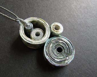 "Paper Bead Necklace, Circles Boho PaperJewelry, Chic Infinity Necklace in Gray & Green, Upcycled Magazine Paper Jewelry ""Mobius #1"""