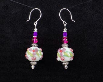 Handmade Pink Purple White Lampwork Glass Bead Dangle Flower Earrings