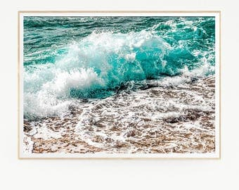 Sea Waves Wall Decor Print Poster Tropical Beach Marine Retro Vintage Colour Photo Nature Sea Minimalist Blue Sky Water Photography 1031