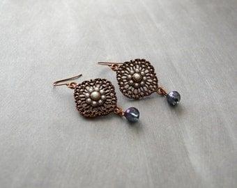 Vintage earrings, victorian style jewelry, copper filigree earrings, dangle and drop earrings, purple earrings, under 25 dollar, bohemian.