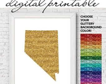 Custom Glittery US State DIGITAL printable wall art. Build your own, glitter, state outline, digital download