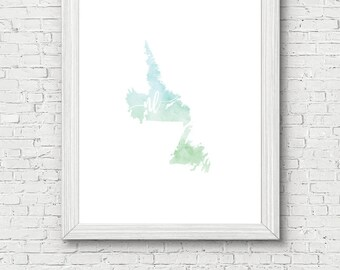 Newfoundland and Labrador Province Printable - digital download, dorm decor, clean and simple, watercolor, minimalist art, canada outline