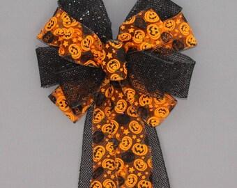 Pumpkin Black Mesh Halloween Bow - Halloween Wreath Bow